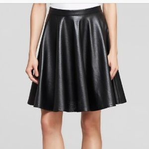 Lucy Paris Midi Perforated Faux Leather Skirt